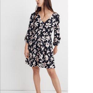 New Madewell Moonblossom Ruffle-Sleeve Dress